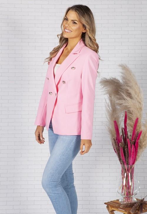 Pamela Scott Candy Pink double breasted Blazer