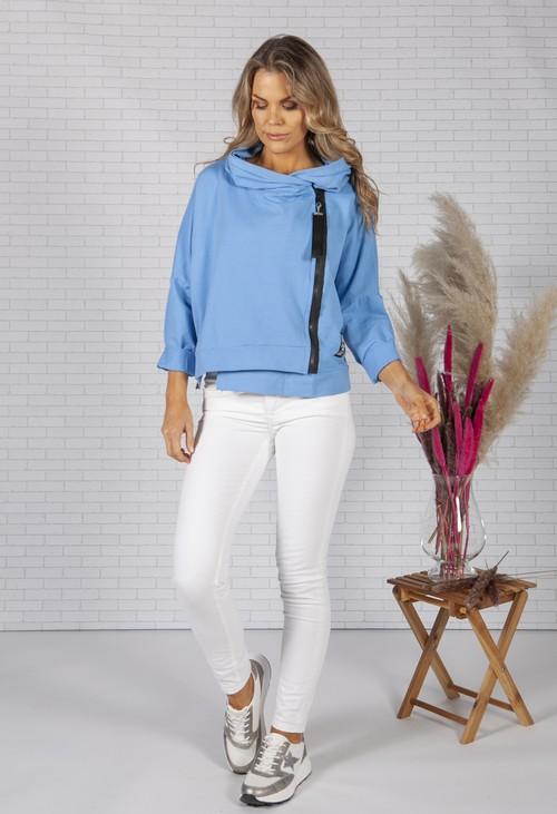 Pamela Scott Light Blue Zip Front Jumper
