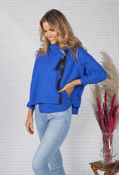 Pamela Scott Deep Blue Zip Front Jumper