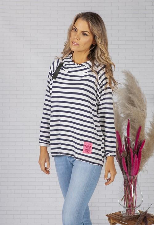 Pamela Scott White and navy striped zip front jumper