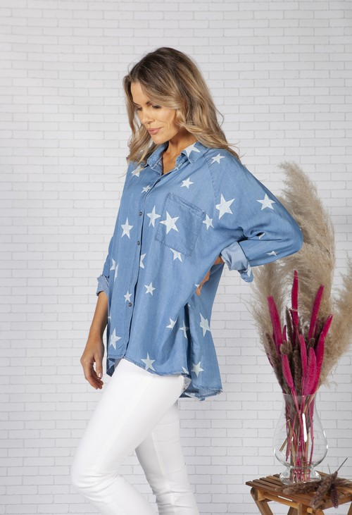 Pamela Scott Denim Shirt with Star Design