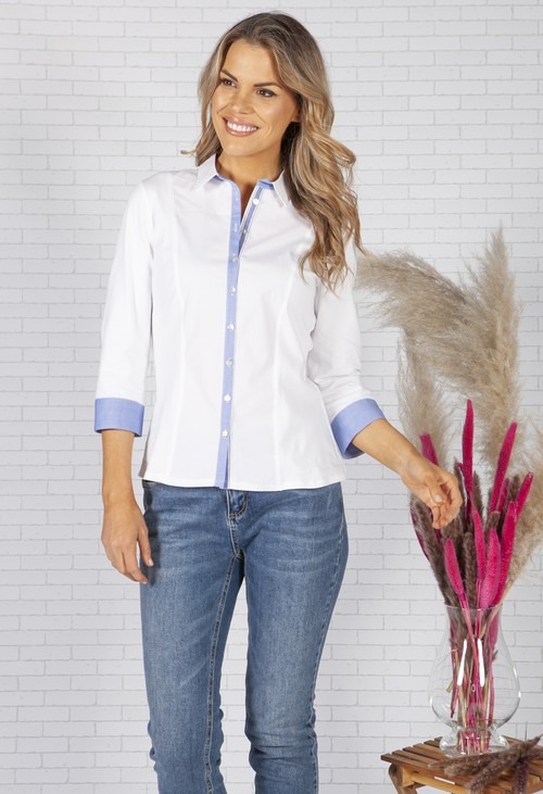 Tinta Style White Shirt with Denim Blue Trims