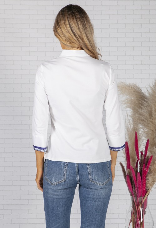 Tinta Style WHITE SHIRT WITH BLUE PRINT TRIM