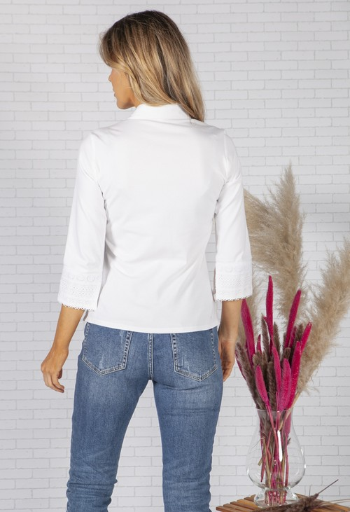 Tinta Style White Shirt with Lace Trim
