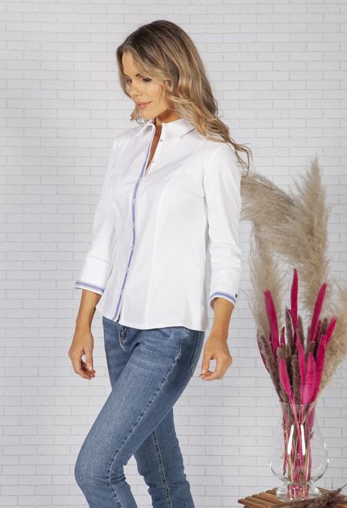 Tinta Style White Shirt with Stripe Blue Trims
