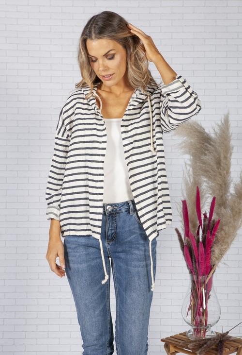 Pamela Scott Beige Striped Linen Jacket