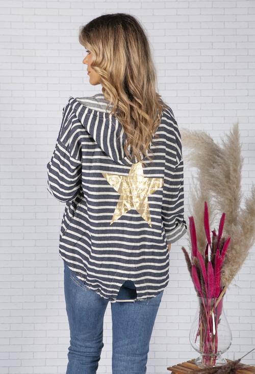 Pamela Scott Navy Striped Linen Jacket