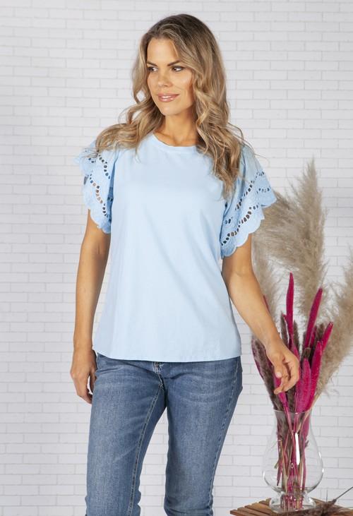 Zapara Sky Blue T-Shirt with Lace Sleeve