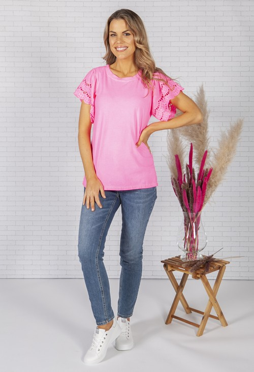 Zapara Bright Pink T-Shirt with Lace Sleeve