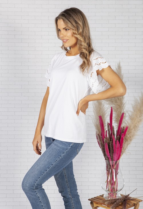Zapara White T-Shirt with Lace Sleeve