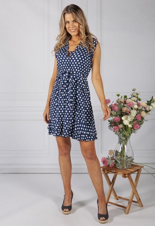 Pamela Scott Navy Polka Dot Ruffle Dress