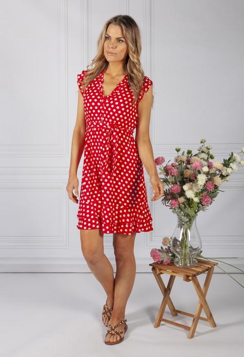Pamela Scott Ruby Red Polka Dot Ruffle Dress