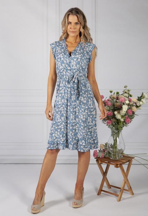 Pamela Scott Blue Blossom Ruffle Dress