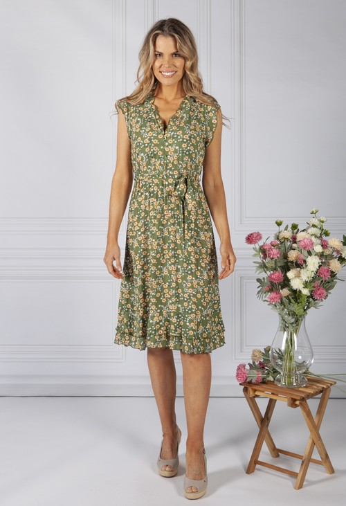 Pamela Scott Green Blossom Ruffle Dress