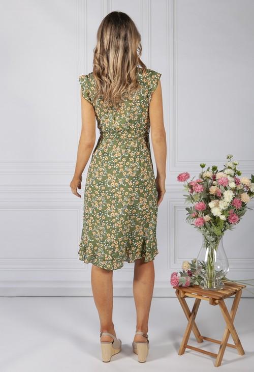 Pamela Scott Green Blossom Ruffle Dress
