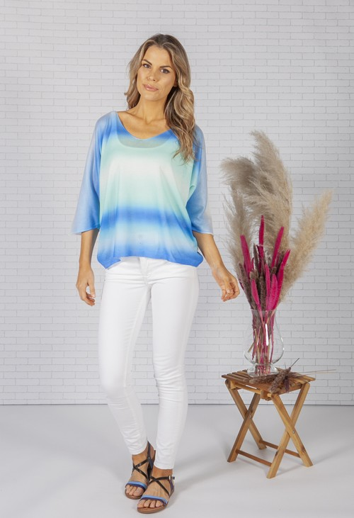 Zapara OVERSIZED PULLOVER KNIT IN BLUE TIE DYE