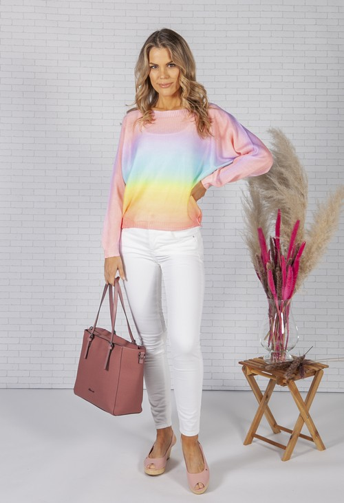 Zapara LIGHTWEIGHT CROPPED TIE DYE KNIT PULLOVER IN CORAL