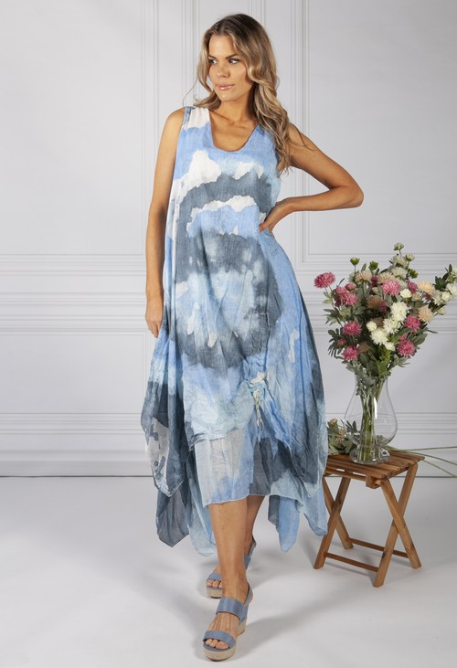 Pamela Scott Tie Dye Boho Dress in Blue
