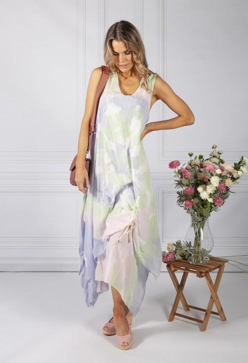 Pamela Scott Tie Dye Boho Dress in Pink and Green