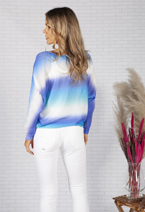 Zapara LIGHTWEIGHT CROPPED TIE DYE KNIT PULLOVER IN ROYAL BLUE