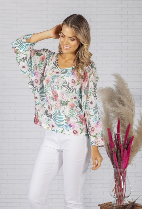 Zapara LIGHTWEIGHT CROPPED FLORAL DESIGN KNIT PULLOVER