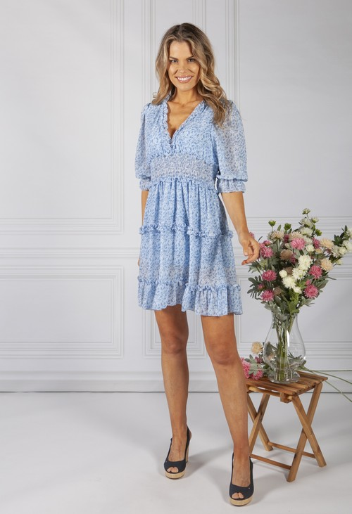 Pamela Scott BOHO INSPIRED SHIRRED DRESS IN BLUE MIX