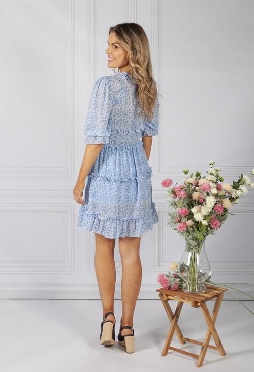 Pamela Scott BOHO INSPIRED SHIRRED DRESS IN BLUE MIX