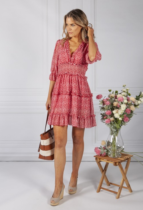 Pamela Scott BOHO INSPIRED SHIRRED DRESS IN RUBY MIX
