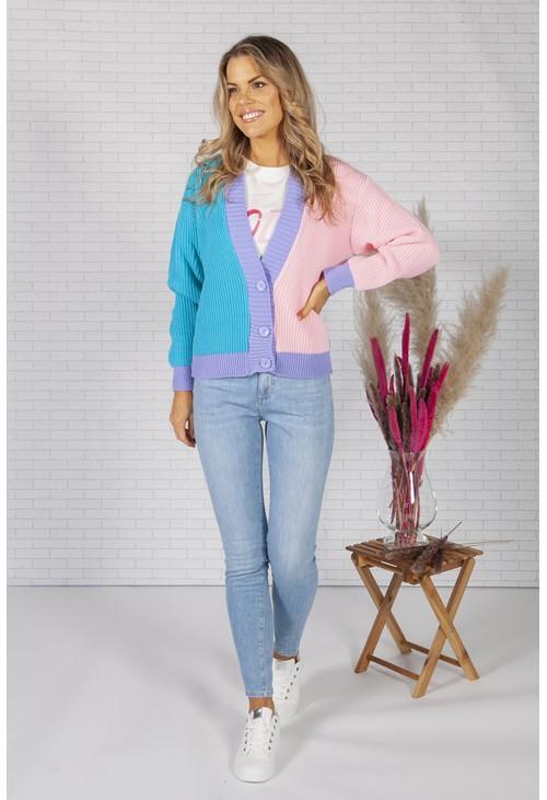 Pamela Scott Pink and Blue Colour Block Varsity Cardigan