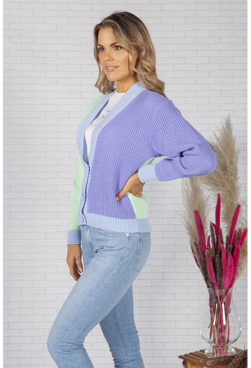 Pamela Scott Mint and Purple Colour Block Varsity Cardigan