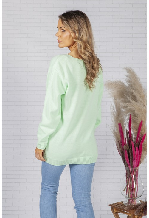 Pamela Scott Oversized Mint Star Design Jumper