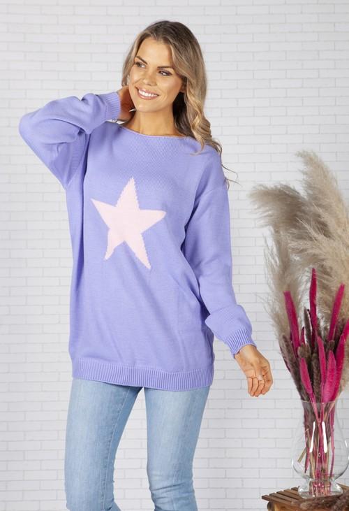 Pamela Scott Oversized Purple Star Design Jumper