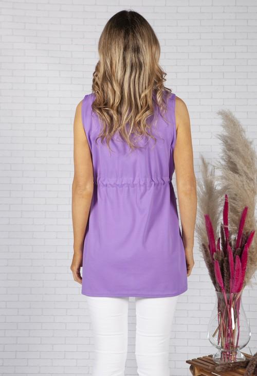 Pamela Scott Deep Lavender Drawstring waterfall front scuba crepe jacket