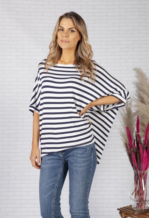 Pamela Scott Relaxed Fit Navy Striped Top
