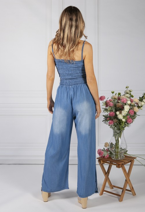 Pamela Scott Wide Leg Denim Jump Suit