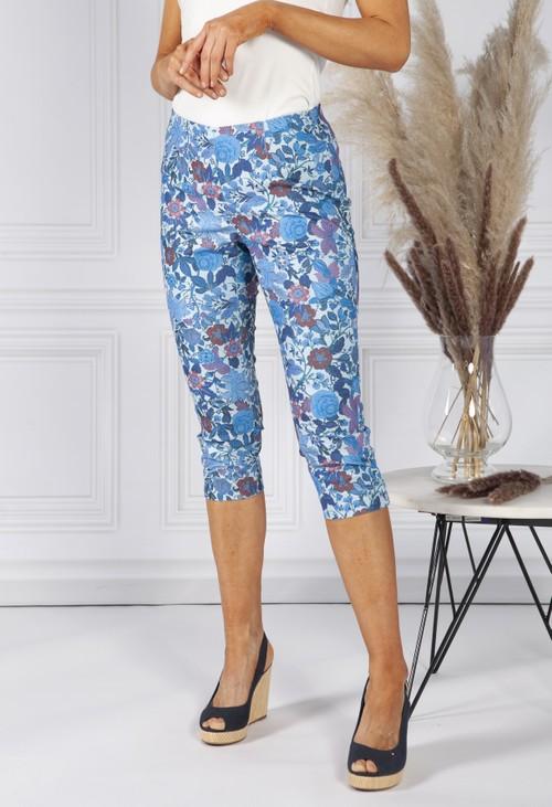 Sophie B Blue Floral Print Pull Up Capris