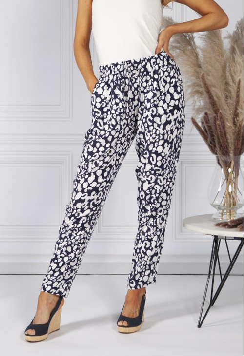 Sophie B Navy Leopard Print Trousers