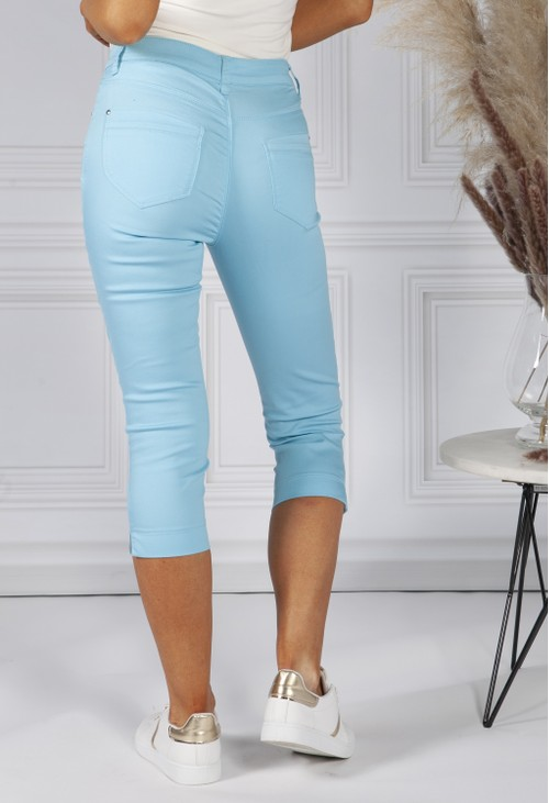 Twist Turquoise 5 Pocket Cropped Jeans