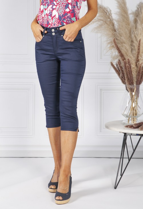 Twist Navy Double Button Cropped Jeans