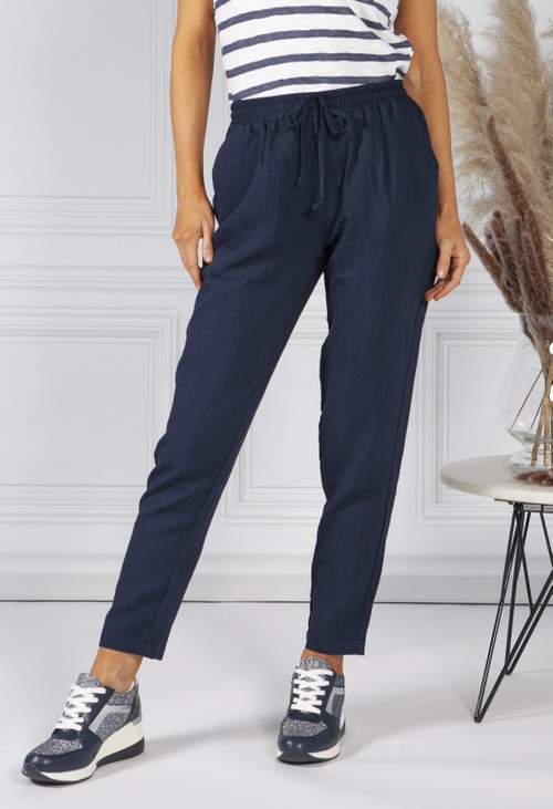 Sophie B Navy Linen Look Trousers