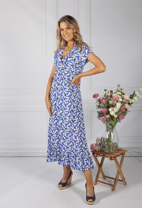 Zapara Royal Blue Blossom Print Dress