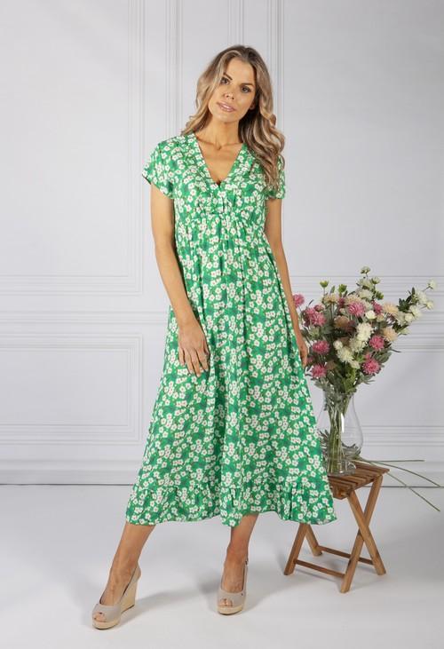 Zapara Spring Green Blossom Print Dress