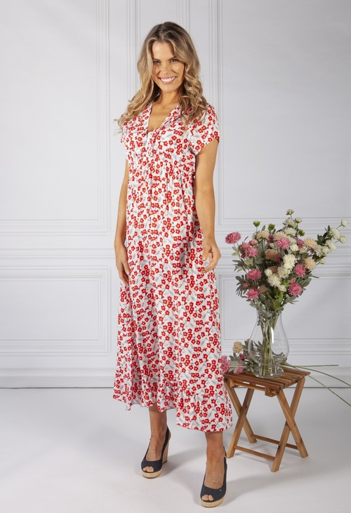 Zapara White Blossom Print Dress