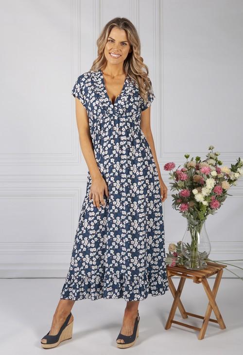 Zapara Navy Blossom Print Dress