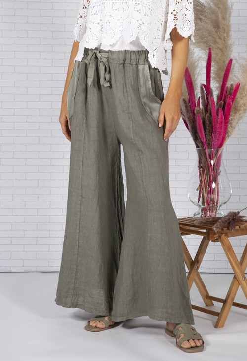 Zapara Sun faded Khaki Linen Trousers