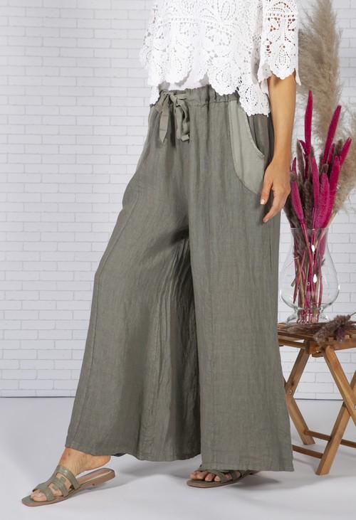 Zapara Sun faded Khaki Linen Trousers