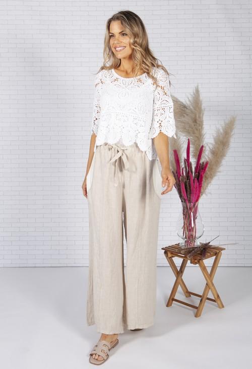 Zapara Beige Linen trousers