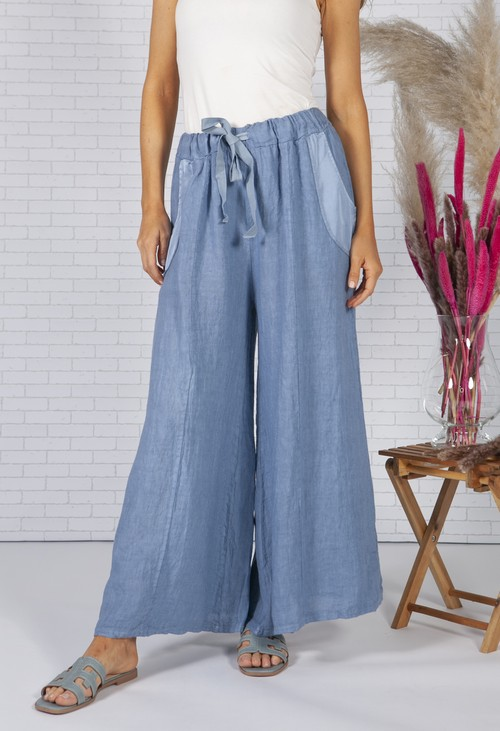 Zapara Sun Faded Blue Linen Trousers