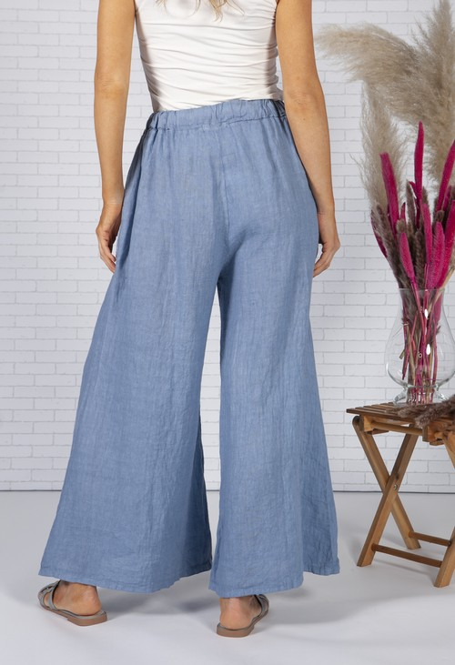 Zapara Sun Faded Blue Linen Trousers