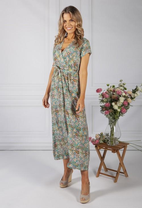 Zapara Sage Floral Print Dress